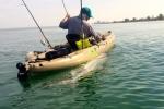 Kasper pulls a tarpon kayak-side during the 2014 Suncoast Tarpon Roundup