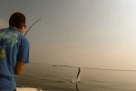 The fight is on for Jacob as his tarpon skyrockets during the 2014 Suncoast Tarpon Roundup