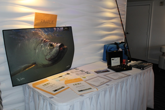 Raffle items for the Suncoast Tarpon Roundup Awards Banquet
